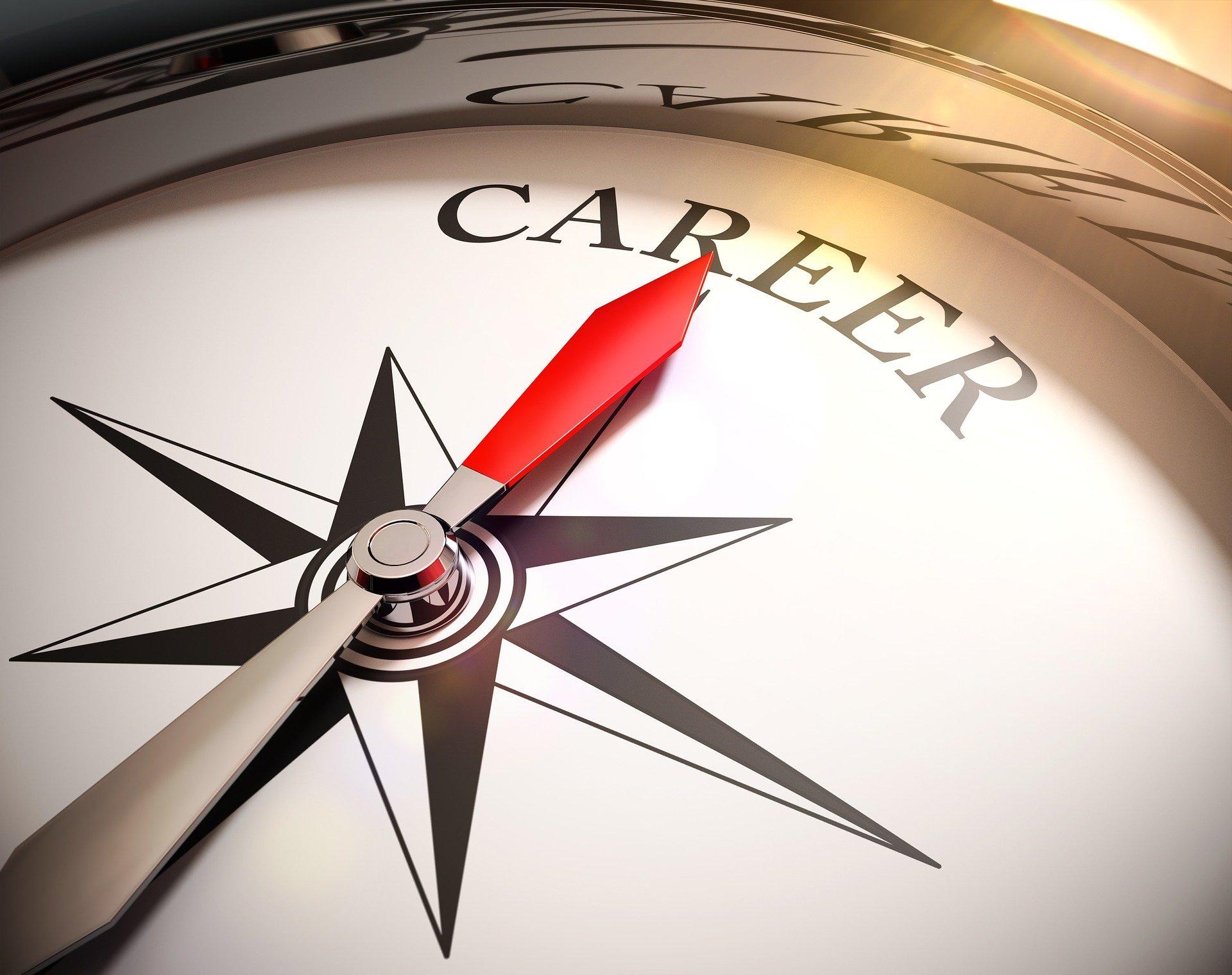 Kompass mit Nadel auf das Wort Karriere
